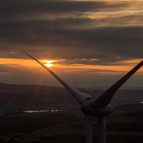 Survol des Appalaches et d'un parc éolien